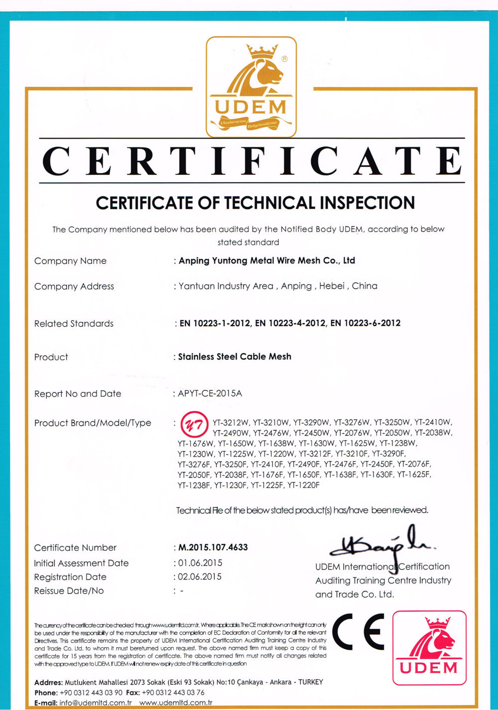 China Anping Yuntong Metal Mesh Co., Ltd. Certificaten